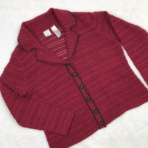 Emma James Sparkly Red Button Up Sweater